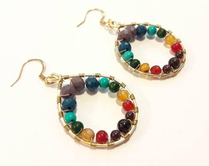 Rainbow Tear Drop Earrings, Gemstones and Crystals on Gold Dangles, Yoga Hoop Earrings, Chakra Earrings