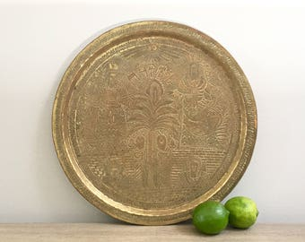 Vintage Brass Tray Persian Turkish Gold Round Tray Global Glam Metallic Chic