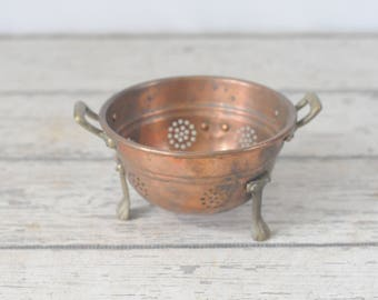 Vintage Copper and Brass Colander Sieve Colander