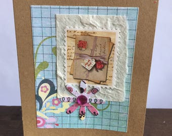 Collage Greeting Card on Kraft Cardstock