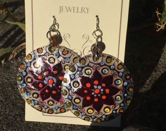 Shell Earring Translucent Shell Discs,Mandalas Painted By Hand,Lightweight, Big Bold Style,FREE Gift Wrapping