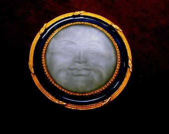 Unique Frosted Satin Glass Moon Face Brooch