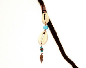 Dreadlock Jewelry - Cowrie and Copper Leaf Charm Loc Jewel