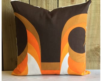 Vintage Barbara Brown Omega Fabric Cushion Cover,  Retro Fabric Throw Pillow