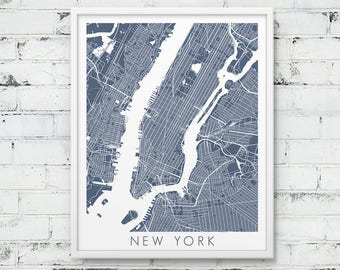 New York City Street Map Print.  New York City Urban Map Poster. Blue Grey New York City. NY Urban Wall Art Home Office Decor. Printable Art