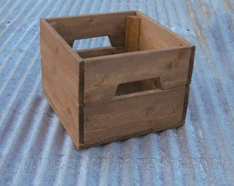 10 Small Reclaimed Wood Crate Primitive Rustic Wedding Centerpiece Box Farmhouse Decor Custom Finish Wooden Bin Natural Lot