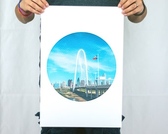 The Lone Star and the Arch - Geometric Photo Poster Print