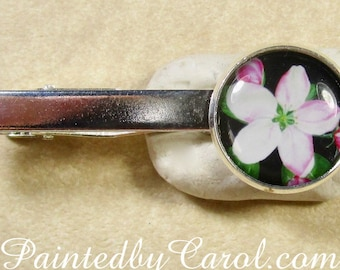 Apple Blossom Tie Bar, Apple Blossom Tie Tack, Apple Blossom Tie Clip, Spring Flower Tie Bar, Spring Wedding Jewelry, Spring Bridal Jewelry