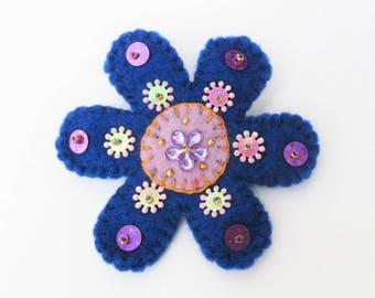 flower pin, boho flower brooch, felt flower brooch, boho jewelry, handmade brooch, flower jewelry, dark blue  flower brooch, hippy brooch
