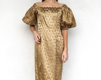 1950s Designer Gold Brocade Suzy Perette Dress