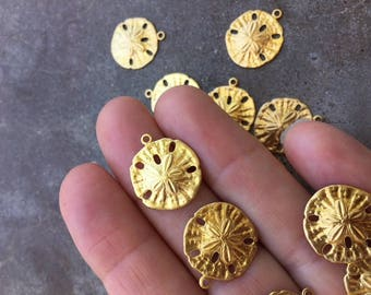 12 pc Goldtone Brass Ocean Themed Sand Dollar Charms For Jewelry or DIY Embellishment Crafts