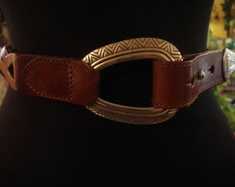 Vintage Brown Braided Belt with Silver Accents