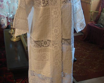 Vintage 1970s White Embroidered and Lace Dress