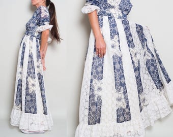 1970s//Lace Inset Ruffled// Navy White Floral Cotton// Folk Maxi Dress// Small Med