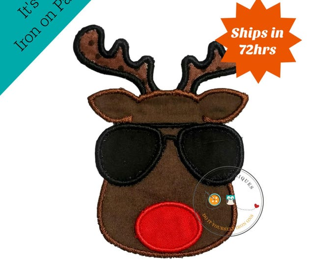 Small cool reindeer face - Christmas iron on embroidered fabric applique patch,