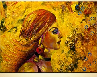 """Modern Portrait Abstract Painting Original Woman Yellow Portrait Figure Gallery Quality Professional Acrylic Painting by Osnat , Size 48"""""""