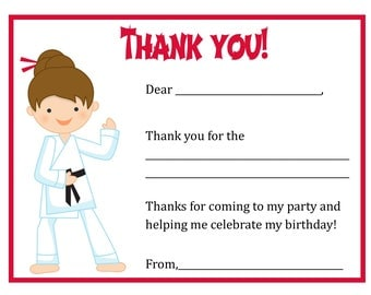 Karate Birthday Party Thank You Card - Digital file - You print / Karate Thank You Card