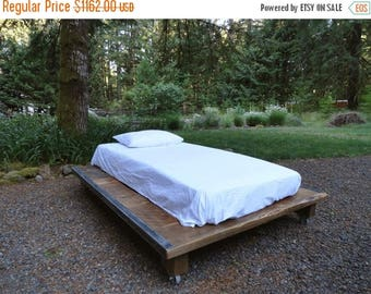 Limited Time Sale 10% OFF Rustic Wood and Steel Platform Bed, Queen size 70 inches wide