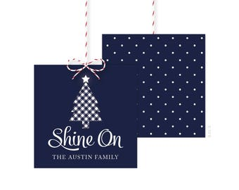 Shine On Christmas Gift Tags - Holiday Gift Tag - Holiday Party Favor Tags - Christmas Party Tags - Printed or Printable - Free Shipping