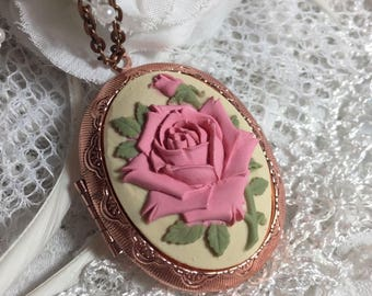 sale ROSE GOLD MAUVE wedding rose Bridal Party Locket necklace  nautical  Victorian