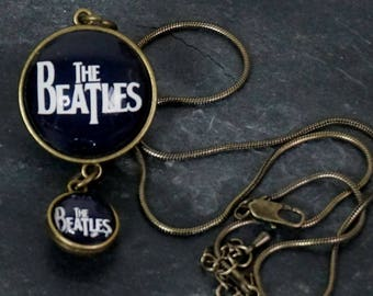 Doubled Sided Round Glass Pendant Two Pendants in One Bronze Pendant Bronze Snake Chain  The Beatles