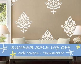 Big Damask Pattern Vinyl Wall Decal, Home Decoration, Wall Pattern - ID659