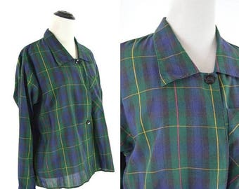 SUMMER SALE Vintage 70's Blue and Green Tartan Plaid Secretary Blouse - Button Up Long Sleeve  Shirt - Gothic Grunge Plaid Top - Ladies Size
