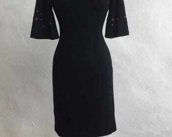 Vintage Elegant Miss of California black wiggle dress angel sleeves pink flowers sz S