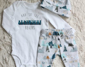 Baby Boy Outfit, Baby Boy Take Home Outfit, Baby Boy Leggings, Adventure Outfit, And So The Adventure Begins