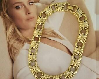 Vintage Givenchy Chunky Gold Statement Necklace