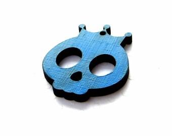 Skull crowned wooden laser cut, blue color