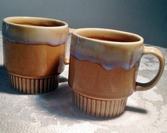 Wedding Sale Stacking Mugs in Yellow and Lavender Drip Glaze / Vintage Teacups made in China