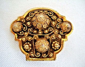Vintage Ornate Gold Brooch Rice Weiner Etrusceana Etruscan Style Jewelry