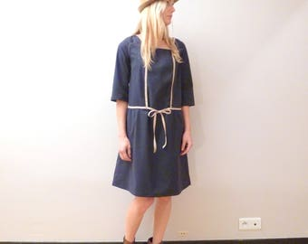 Thick coton navy blue dress