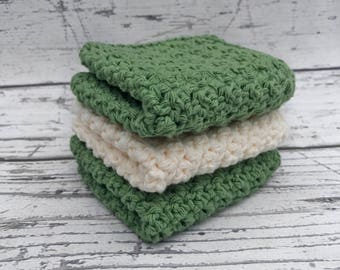 Crochet Dishcloths, Cotton Washcloths for Kitchen or Bathroom, Set of 3 Ready To Ship