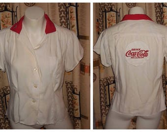 Vintage Bowling Shirt 1950s Women's King Louie Coca Cola Bowling Shirt For AJBC Members Only Coke Bowling Shirt  Rayon Neck Loop M chest 38