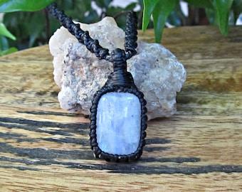 Moonstone Macrame Wrapped Pendant Necklace - Black Thread