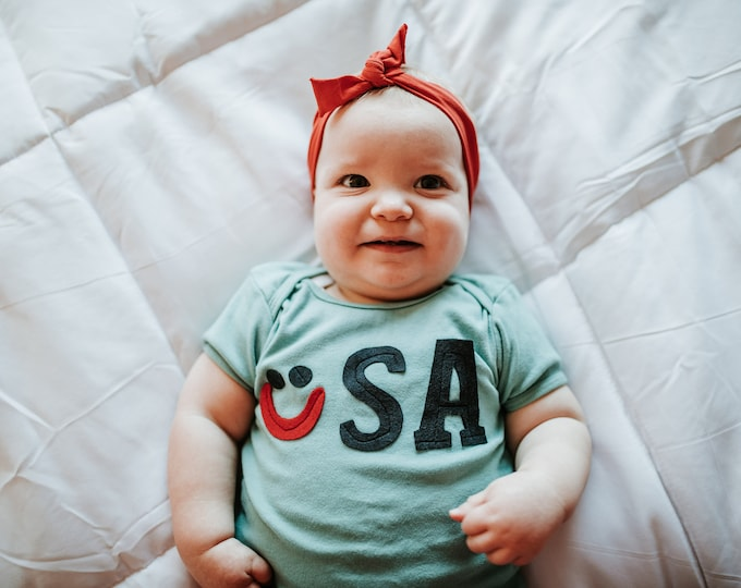 """Swanky Shank """"Smile for USA"""" Hand-Dyed Teal tee; Olympic Tee"""