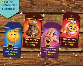Emoji Thank You Tags,  Emoji Movie Thank You Tags, Emoji Party Favors, Emoji Favor Tags, Emoji Movie Birthday Tags, Party Tags, Gift Tags