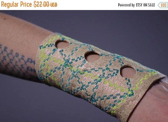 ON SALE Geometric Leather Cuff Bracelet - Leather Cuff Bracelet - Embroidered Leather Cuff - Neon