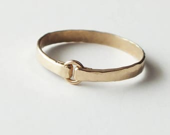 Heavy Gauge Hammered Gold Filled Ring - Gold Ring - Stacking Rings - Wedding Band