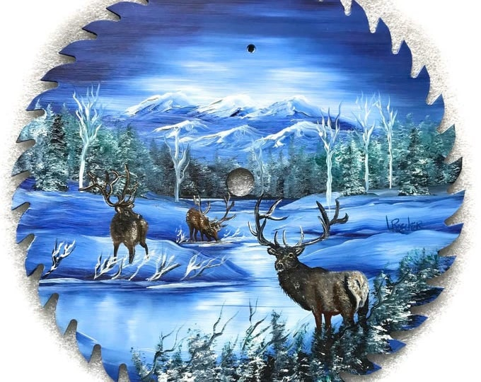 Hand Painted Saw Blade Winter Mountain Three ELK 10 1/4 inch Real Saw Blade