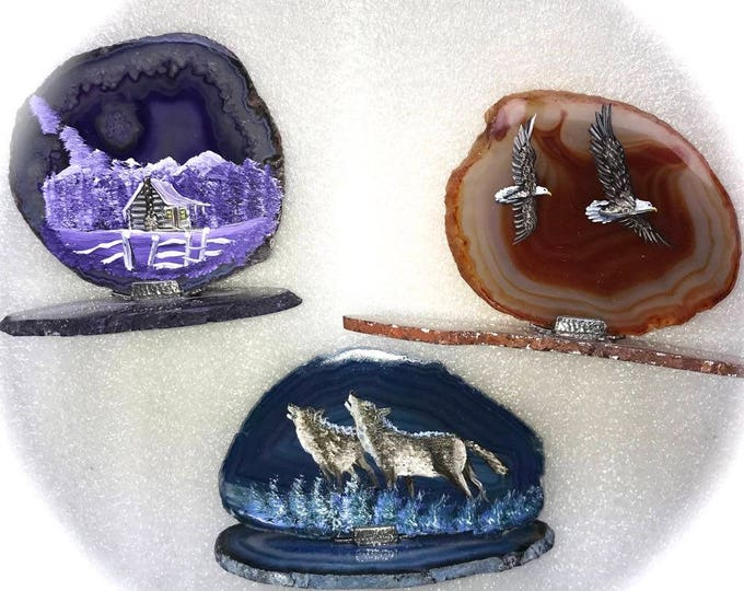 Hand Painted Brazilian Agate Cabin Eagles Wolves All Three 1 Price