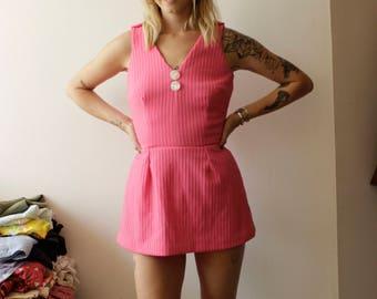 60s Pink Swim Suit/Bathing Suit, Pin up- S/M