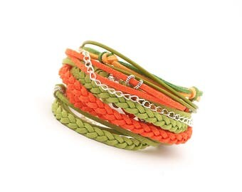 Green Orange Wrap bracelet, Boho Jewelry, vegan bracelet,