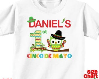 SALE Personalized 1st First Cinco de Mayo Baby Little Boy T-shirt Shirt Baby Bodysuit Cinco de Mayo Festival Owl Sombrero