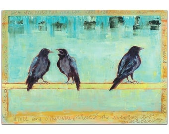 Contemporary Wall Art 'Crow Bar 2' by Janice Sugg - Urban Birds Decor Modern WIldlife Artwork on Metal or Plexiglass