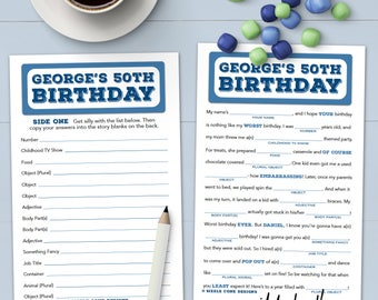 Birthday Mad Lib For Adults - Personalized Party Game - Printable OR Printed [#100A]