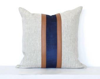 Leather and Velvet Vertical Stripe Pillow Cover - Navy Combo