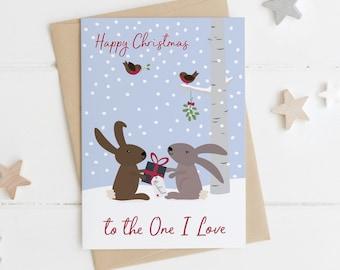 Rabbit 'To the One I Love' Christmas Card - bunny xmas card for Husband - wife xmas card - boyfriend Christmas Card - girlfriend xmas card